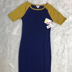 Lularoe NWT Julia Dress Size XXS Blue with Yellow